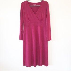 LL Bean Long Sleeve Mock Wrap Dress Plum Size L